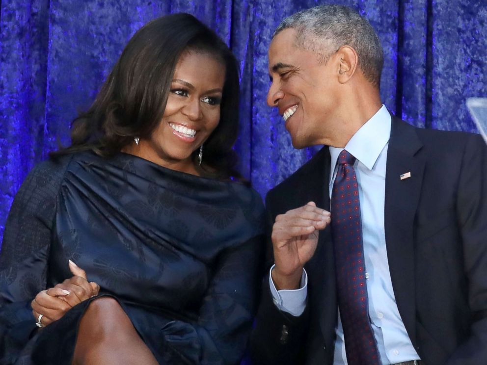 PHOTO: Former U.S. President Barack Obama and first lady Michelle Obama participate in the unveiling of their official portraits during a ceremony at the Smithsonians National Portrait Gallery, Feb. 12, 2018, in Washington, DC.