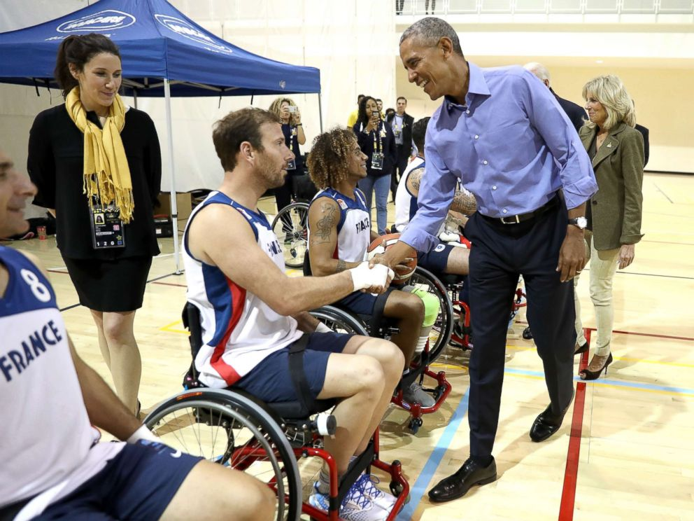 PHOTO: Former President Barack Obama greets competitors from Team France on day 7 of the Invictus Games 2017, Sept. 29, 2017 in Toronto.