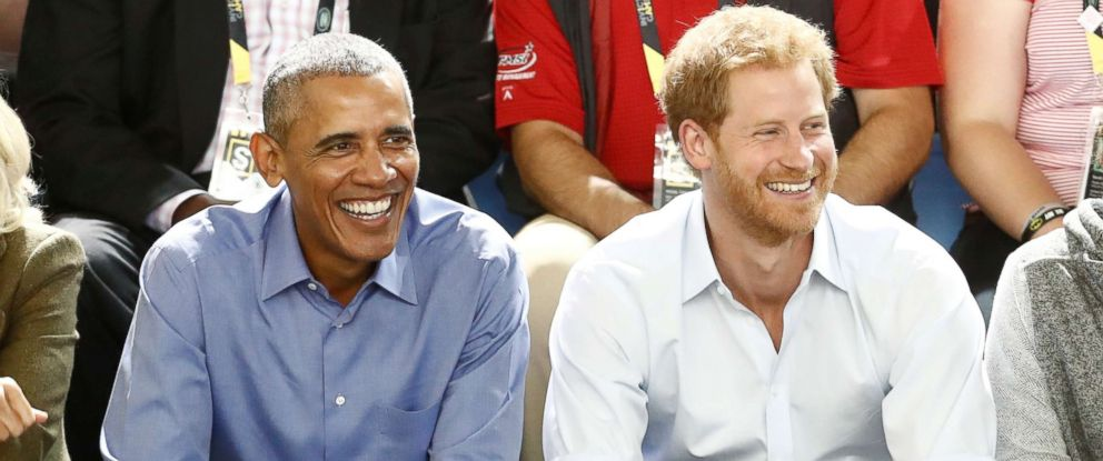 PHOTO: Britains Prince Harry (R) and former President Barack Obama watch a wheelchair basketball event during the Invictus Games in Toronto, Sept. 29, 2017.