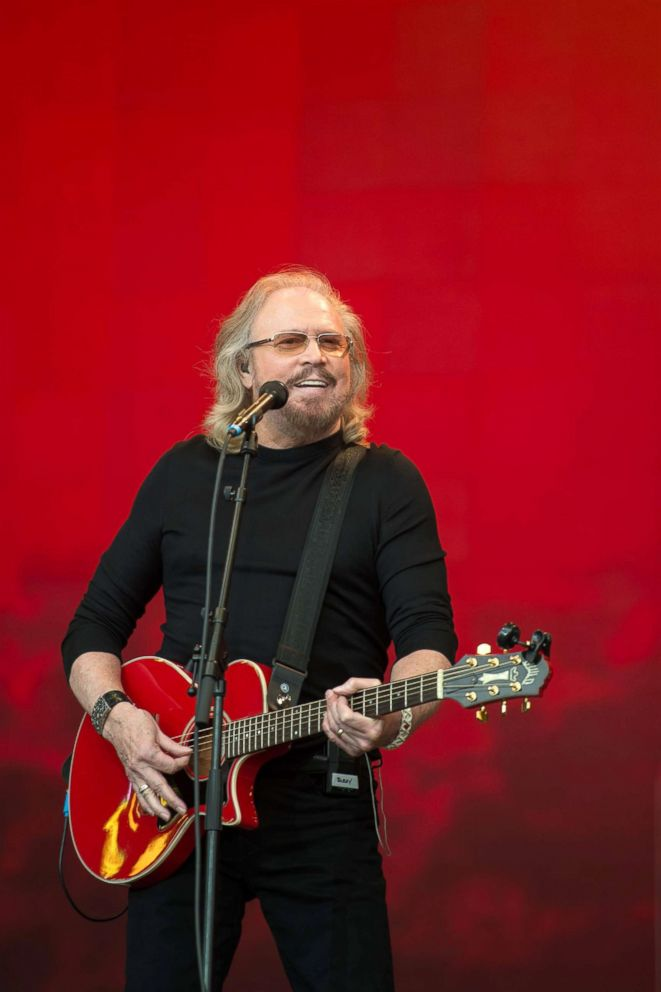 PHOTO: Barry Gibb performs on the Pyramid Stage at the Glastonbury Festival in Somerset, South West England.