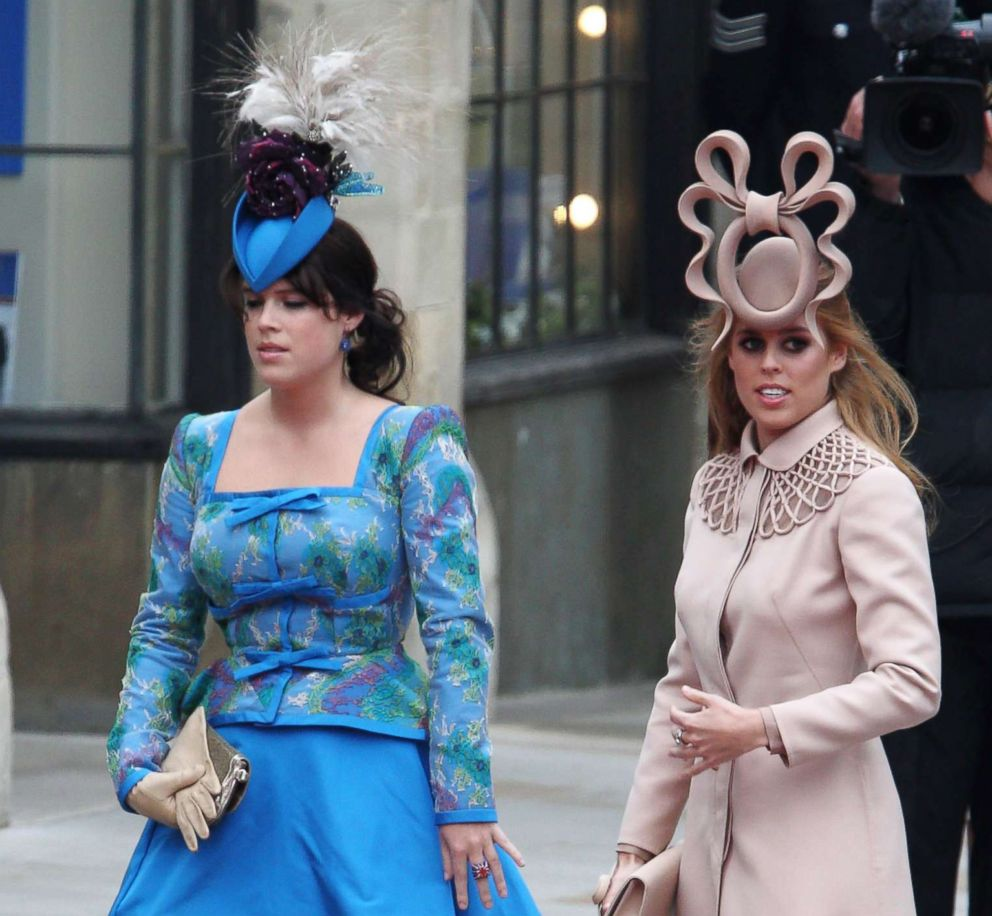 PHOTO: Princess Beatrice of York and Princess Eugenie of York arrive at the wedding of Prince William to Catherine Middleton at Westminster Abbey on April 29, 2011 in London.