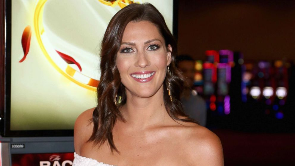 """Television personality Becca Kufrin attends an unveiling of """"The Bachelor"""" themed slot machine at the MGM Grand Hotel & Casino, May 17, 2018, in Las Vegas."""