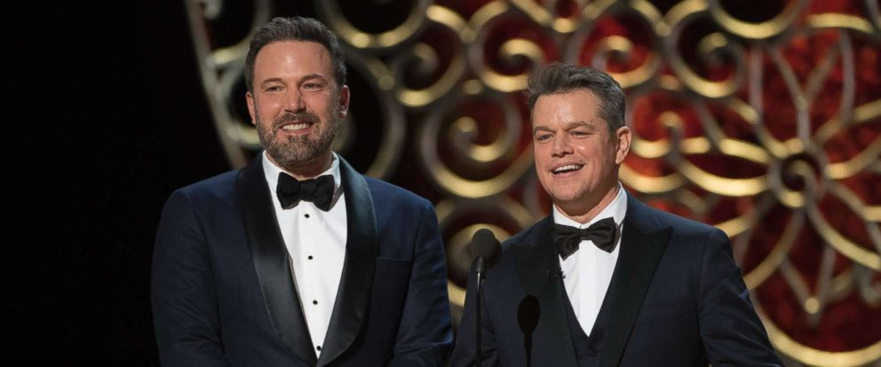 PHOTO: Ben Affleck and Matt Damon appear on the 89th Academy Awards ceremony, Feb. 26, 2017.