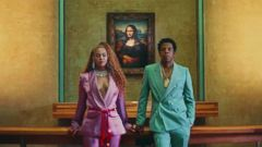 "PHOTO: Beyonce and Jay-Z in first video off the album, ""Ape S**t."""