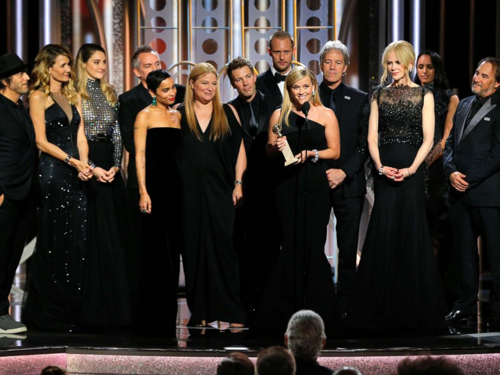 PHOTO: Reese Witherspoon, with the cast and crew of Big Little Lies, accepts the award for best limited series or motion picture made for TV at the 75th Annual Golden Globe Awards in Beverly Hills, Calif., Jan. 7, 2018.