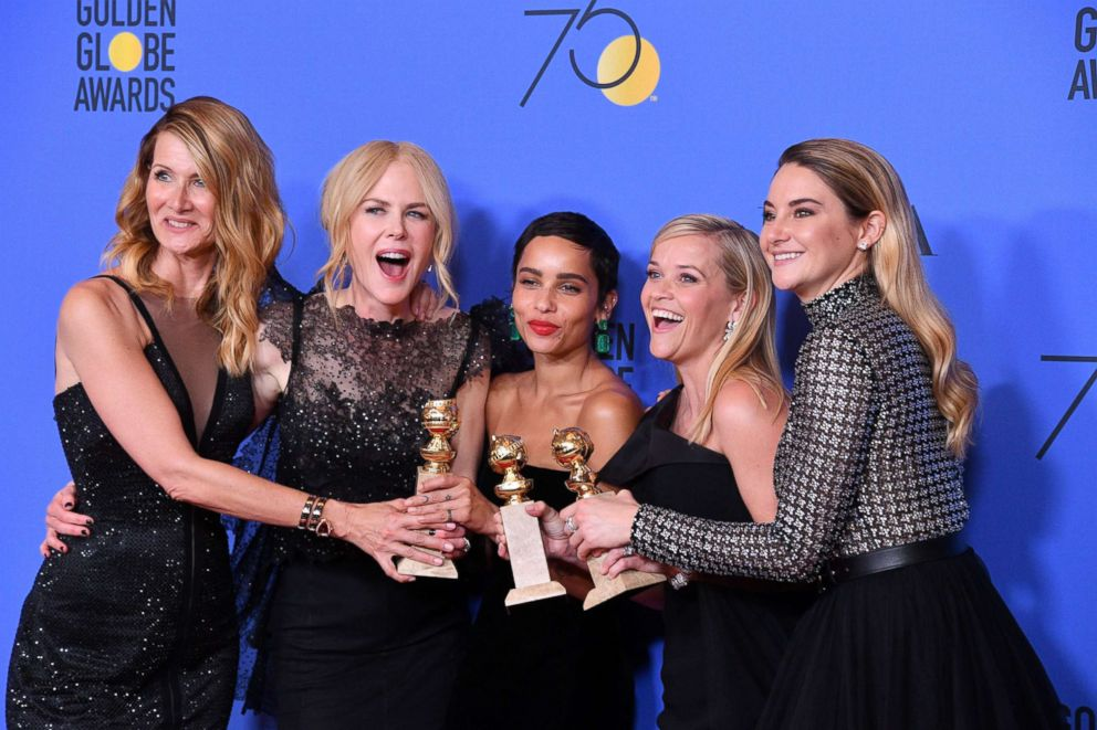 PHOTO: Laura Dern, Nicole Kidman, Zoe Kravitz, Reese Witherspoon and Shailene Woodley of Big Little Lies, pose in the press room during the 75th annual Golden Globe Awards at the Beverly Hilton Hotel, Jan. 7, 2018, in Beverly Hills, Calif.