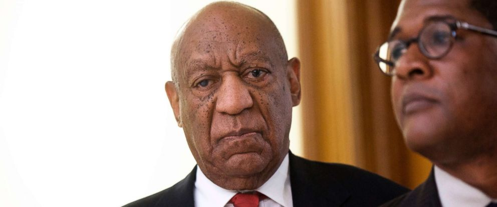 PHOTO: Actor and comedian Bill Cosby reacts while being notified a verdict was in in his sexual assault retrial, April, 26, 2018, at the Montgomery County Courthouse in Norristown, Pa.