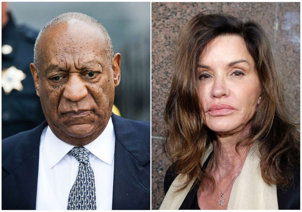 PHOTO: A combination photo shows Bill Cosby leaving Montgomery County Courthouse on Aug. 22, 2017, and model Janice Dickinson leaving Los Angeles Superior Court after a judge ruled her defamation lawsuit against Bill Cosby on March 29, 2016.