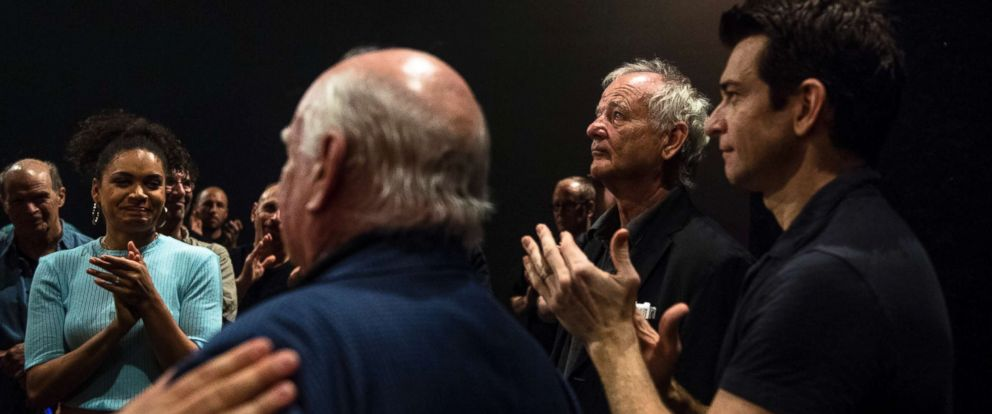 "PHOTO: Bill Murray speaks with the cast and crew of ""Groundhog Day,"" a Broadway musical based on his 1993 movie of the same name, at the August Wilson Theater in Manhattan, Aug. 8, 2017."