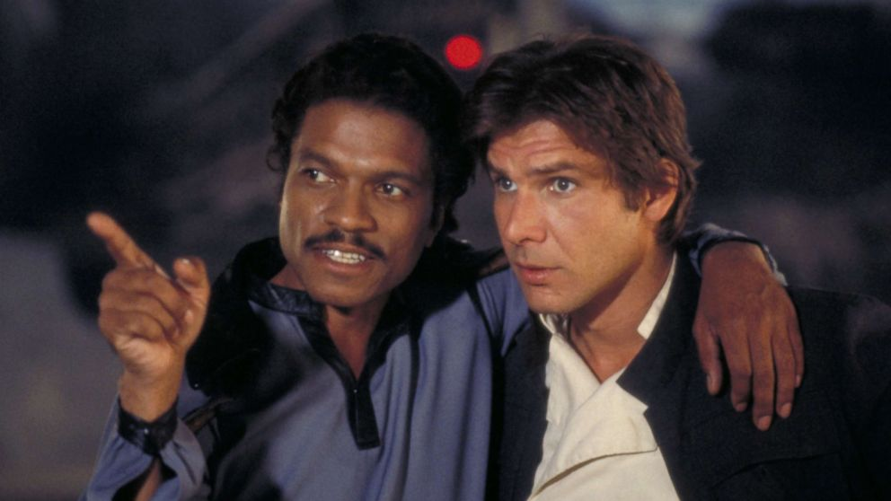 "Billy Dee Williams and Harrison Ford appear in ""Star Wars: Episode V - The Empire Strikes Back,"" in 1980."