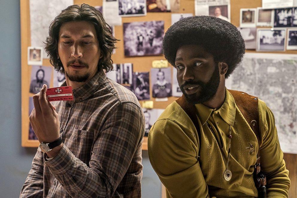 "Adam Driver and John David Washington in a scene from ""BlacKkKlansman."""