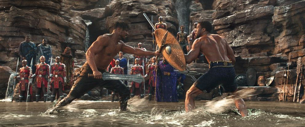 """PHOTO: Michael B. Jordan and Chadwick Boseman engage in a fighting match in a scene from the """"Black Panther,"""" 2018."""