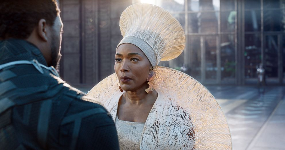 PHOTO: Angela Bassett and Chadwick Boseman star in the 2018 film, Black Panther.