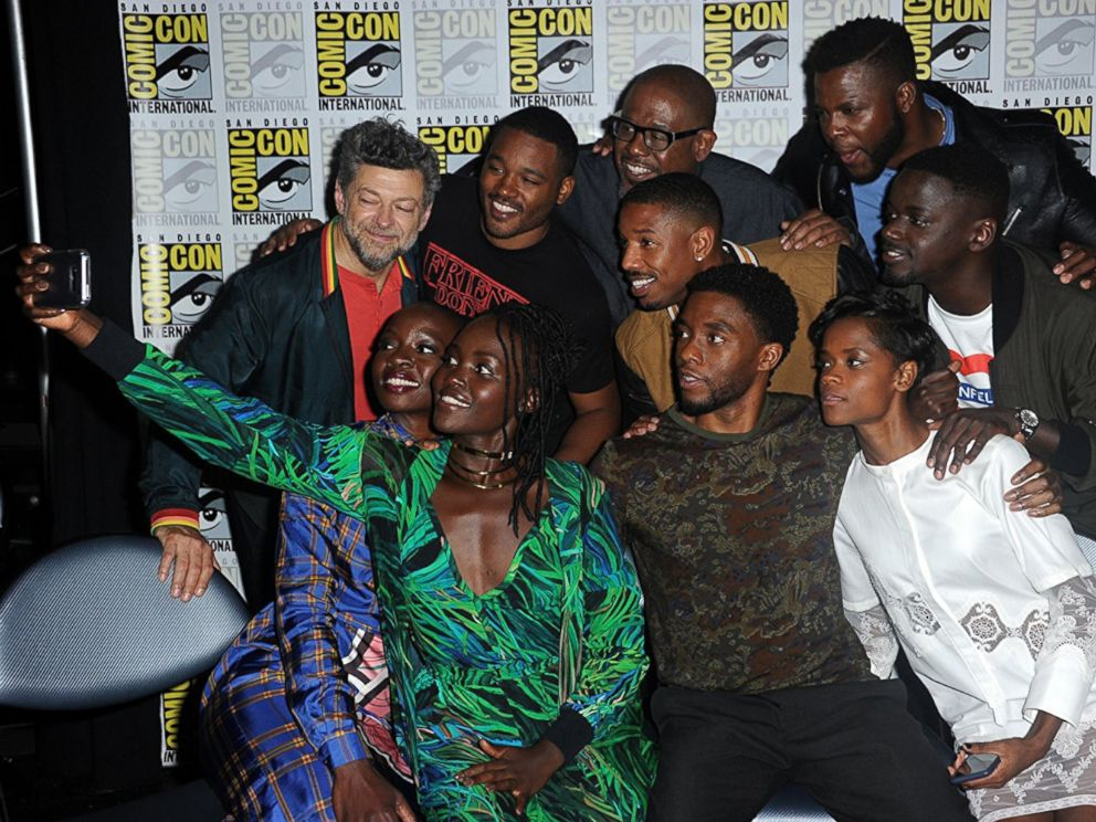 PHOTO: Forest Whitaker, Andy Serkis, Chadwick Boseman, Danai Gurira, Lupita Nyongo, Daniel Kaluuya, Ryan Coogler, Letitia Wright, and Winston Duke at an event for Black Panther, 2018.