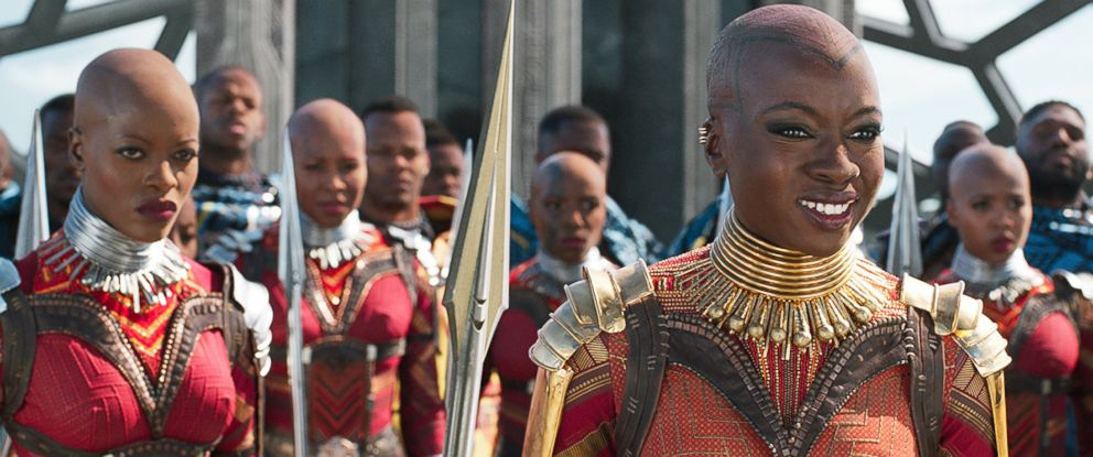 """PHOTO: Florence Kasumba and Danai Gurira in a scene from """"Black Panther,"""" 2018."""