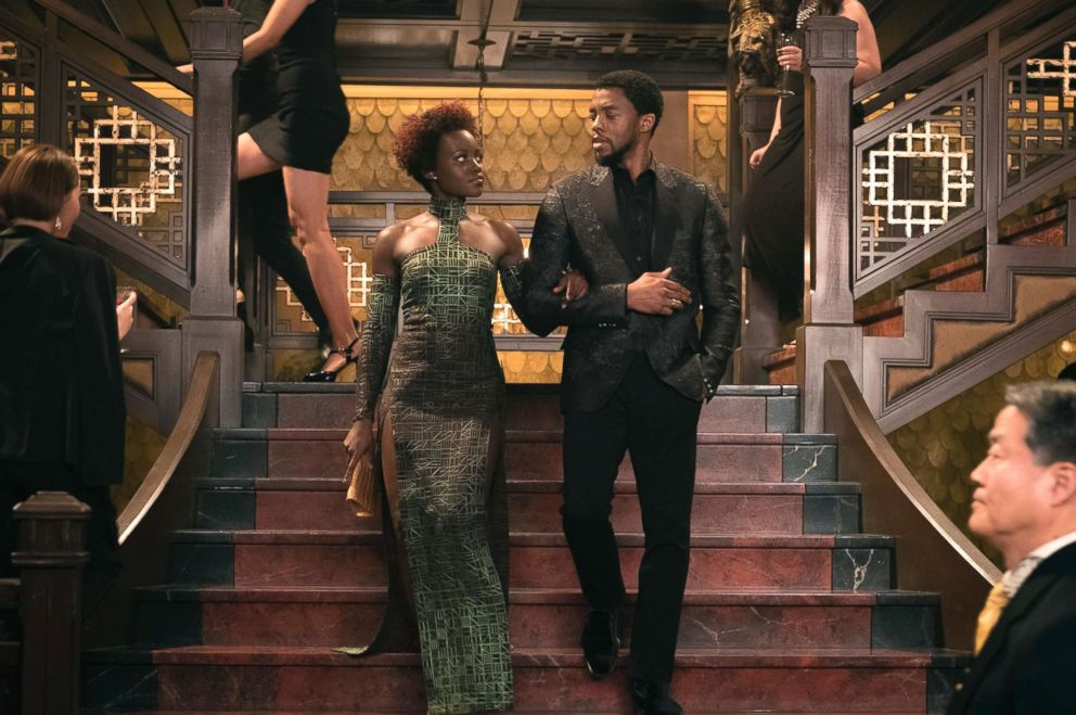 PHOTO: Lupita Nyongo and Chadwick Boseman in a scene from the movie Black Panther.