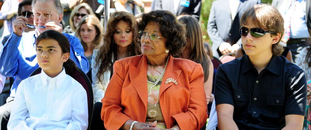 PHOTO: Michael Jacksons mother Katherine Jackson and two sons, Blanket, left, and Prince attend a ceremony honoring Michael Jackson at Childrens Hospital in Los Angeles, Aug. 8, 2011.