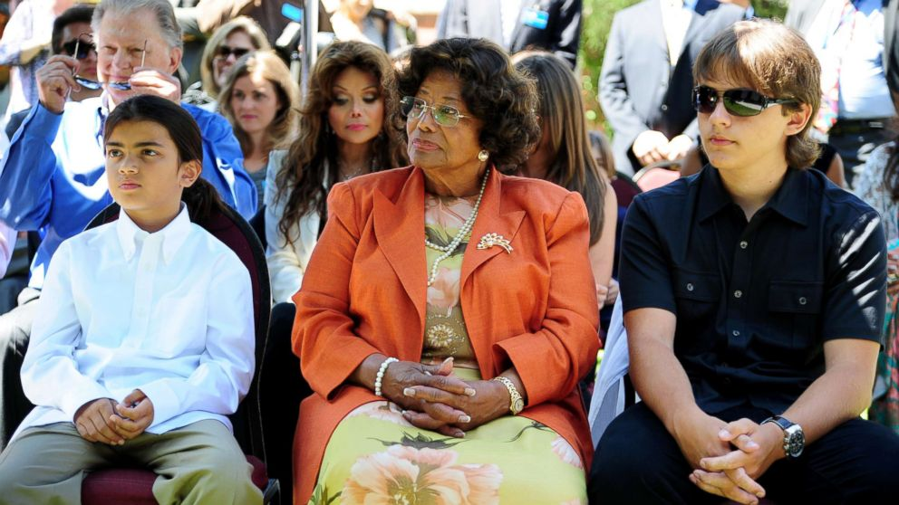 Michael Jackson's mother Katherine Jackson and two sons, Blanket, left, and Prince attend a ceremony honoring Michael Jackson at Childrens Hospital in Los Angeles, Aug. 8, 2011.