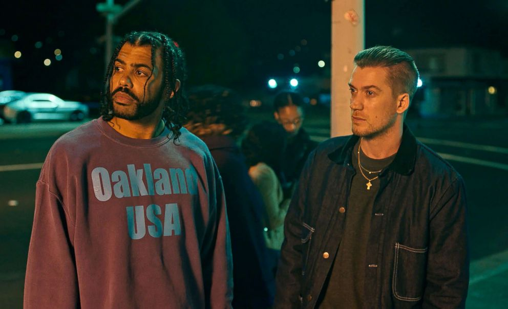 PHOTO: Daveed Diggs, left, and Rafael Casal in a scene from Blindspotting.