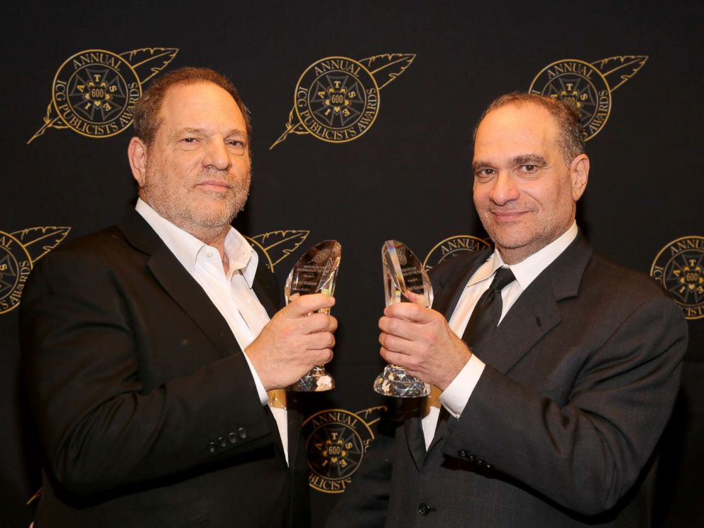 PHOTO: Harvey Weinstein and Bob Weinstein pose with the Motion Picture Showmanship Award backstage at the 52nd Annual ICG Publicists Awards at The Beverly Hilton Hotel, Feb. 20, 2015, in Beverly Hills, Calif.