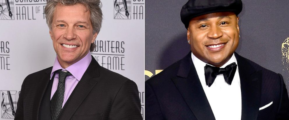 PHOTO: Jon Bon Jovi poses backstage at the Songwriters Hall Of Fame 48th Annual Induction, June 15, 2017, in New York City | LL Cool J attends the 69th Annual Primetime Emmy Awards at Microsoft Theater, Sept. 17, 2017, in Los Angeles.