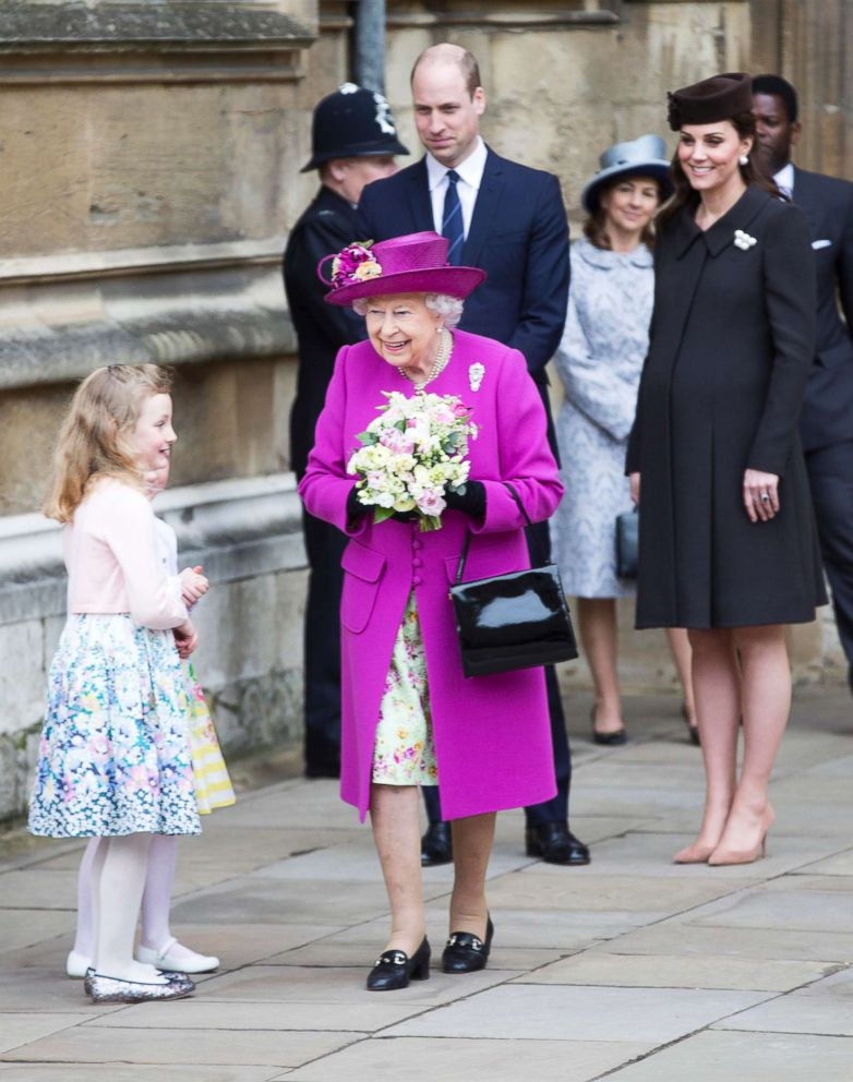 PHOTO: Britains Queen Elizabeth II, with Prince William and Kate, Duchess of Cambridge, leave the annual Easter Sunday service at St Georges Chapel at Windsor Castle in Windsor, England, Sunday April 1, 2018.