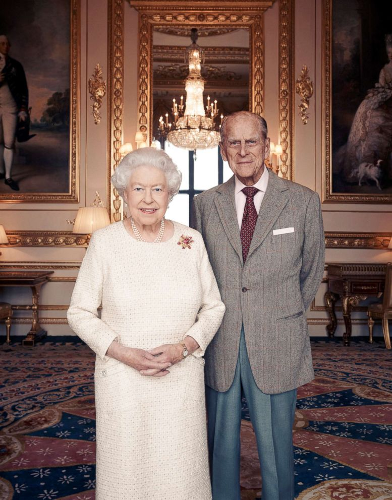 PHOTO: Britains Queen Elizabeth and Prince Philip pose for a photograph in the White Drawing Room at Windsor Castle, England in this handout photo issued Nov. 18, 2017, in celebration of their platinum wedding anniversary Nov. 20, 2017.