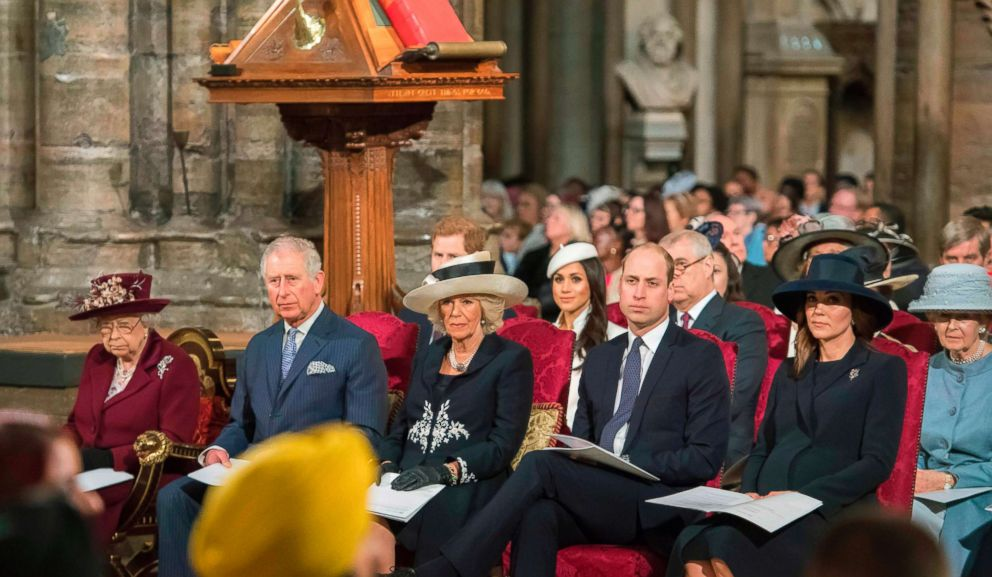 From left, Britains Queen Elizabeth II, Prince Charles, Camilla, Duchess of Cornwall, Prince William, Duke of Cambridge, and Catherine, Duchess of Cambridge attend a Commonwealth Day Service at Westminster Abbey in central London on March 12, 2018.