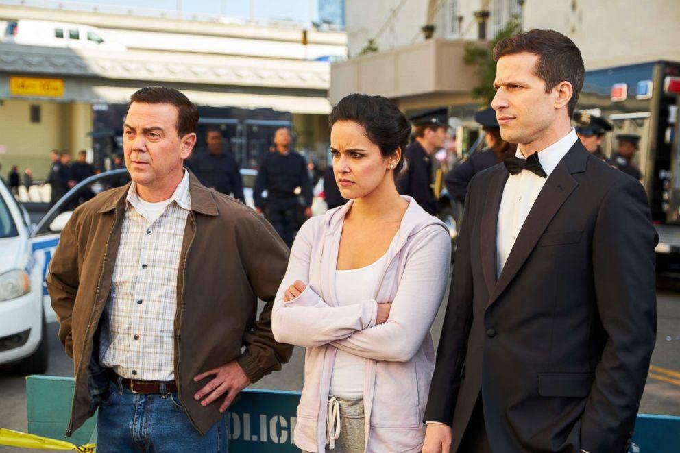 PHOTO: Joe Lo Truglio, Melissa Fumero and Andy Samberg star in an episode of Brooklyn Nine-Nine, May 20, 2018.