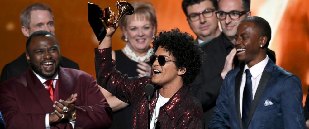 PHOTO: Bruno Mars accepts Album of the Year for 24K Magic with production team onstage during the 60th Annual GRAMMY Awards at Madison Square Garden, Jan. 28, 2018, in New York City.