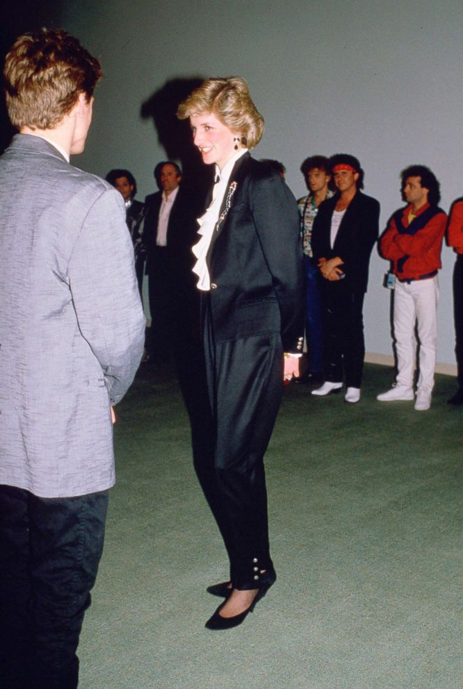 PHOTO: Diana, Princess Of Wales, speaks to Bryan Adams during at The Expo 86 Theatre, May 3, 1986.