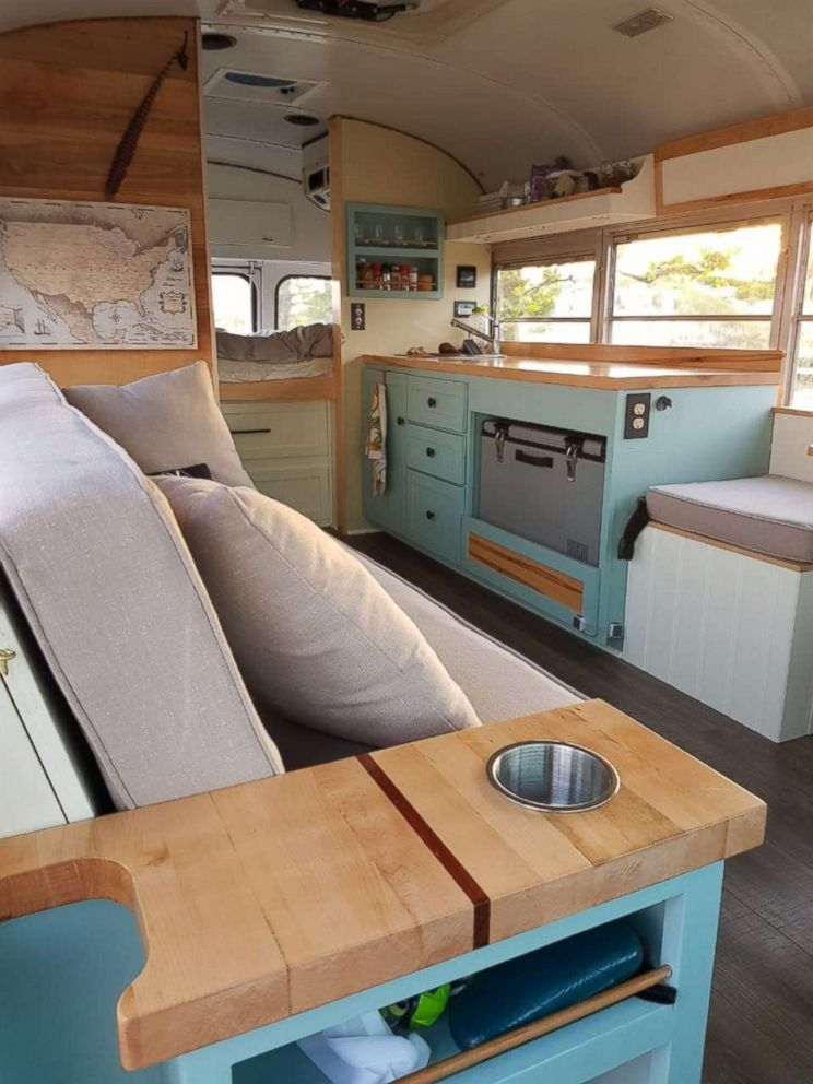 PHOTO: Andrew and Steph MacArthur converted a school bus into a RV.
