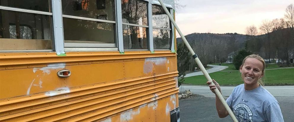 PHOTO: Andrew and Steph MacArthur turned an old school bus into an amazing home on wheels over nine months.