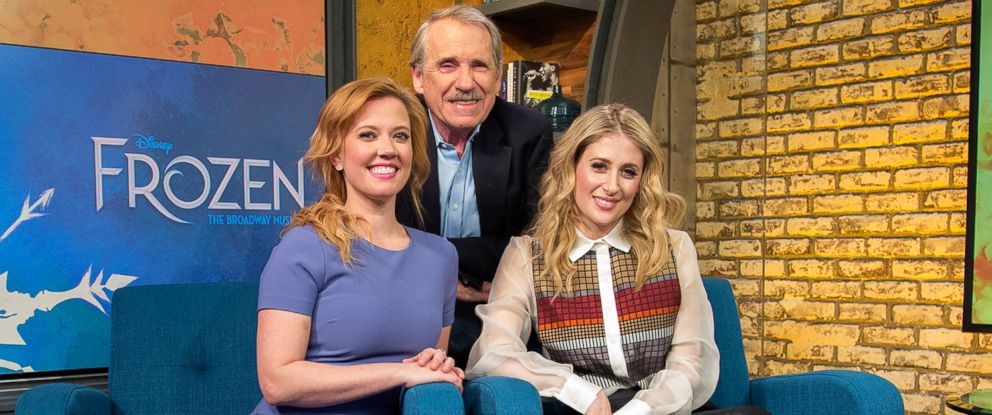 """PHOTO: Caissie Levy and Patti Murin appear on """"Popcorn With Peter Travers"""" at ABC News studios, Jan. 31, 2018, in New York City."""