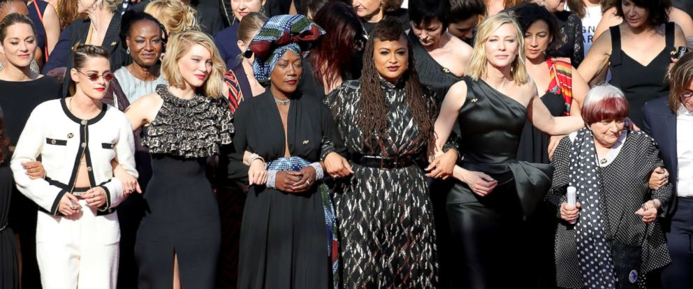 "PHOTO: Kirsten Stewart, Lea Seydoux, Khadja Nin, Ava DuVernay and Cate Blanchett walk the red carpet in protest of the lack of female filmmakers at the screening of ""Girls Of The Sun at Cannes Film Festival, May 12, 2018 in Cannes."