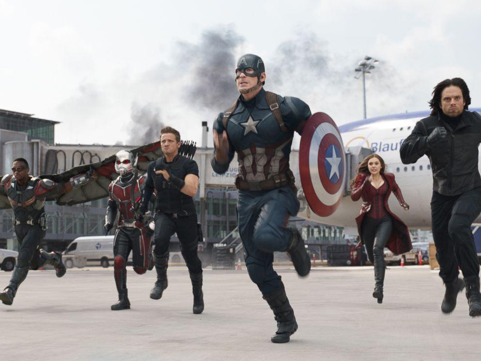 PHOTO: Anthony Mackie, from left, Paul Rudd, Jeremy Renner, Chris Evans, Elizabeth Olsen and Sebastian Stan appear in a scene from Captain America: Civil War.