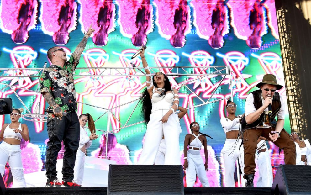PHOTO: From Left, Balvin, Cardi B, and Bad Bunny perform during the 2018 Coachella Valley Music And Arts Festival on April 22, 2018, in Indio, Calif.