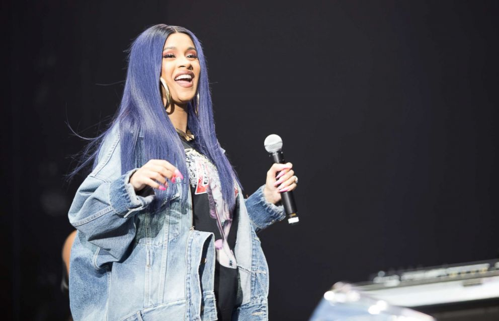 PHOTO: Rapper Cardi B performs onstage for 2018 Broccoli City Festival at RFK Stadium, April 28, 2018, in Washington, DC.