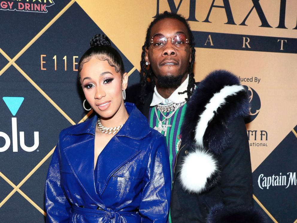 PHOTO: Cardi B, left, and Offset arrive at the Maxim Super Bowl Party in Minneapolis, Feb. 3, 2018.