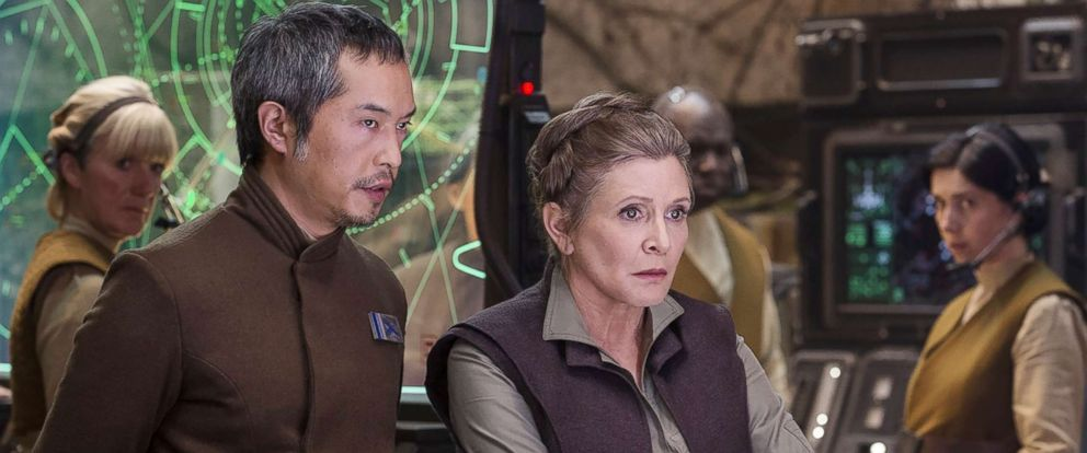 "PHOTO: Carrie Fisher and Ken Leung appear in a scene from ""Star Wars: Episode VII - The Force Awakens."""