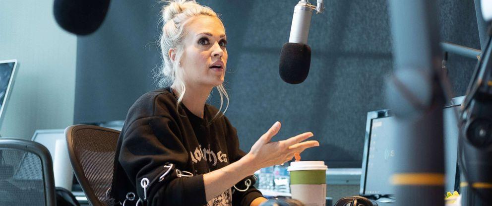 "PHOTO: Singer Carrie Underwood visits ""The Highway"" at SiriusXM Nashville Studios at Bridgestone Arena on April 19, 2018 in Nashville, Tenn."