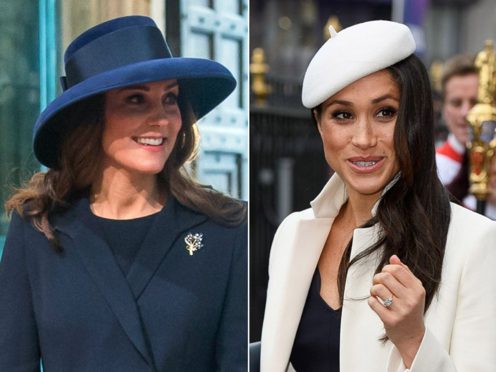 PHOTO: Catherine, Duchess of Cambridge, and Meghan Markle arrive attend the Commonwealth Service at Westminster Abbey, London, March 12, 2018.