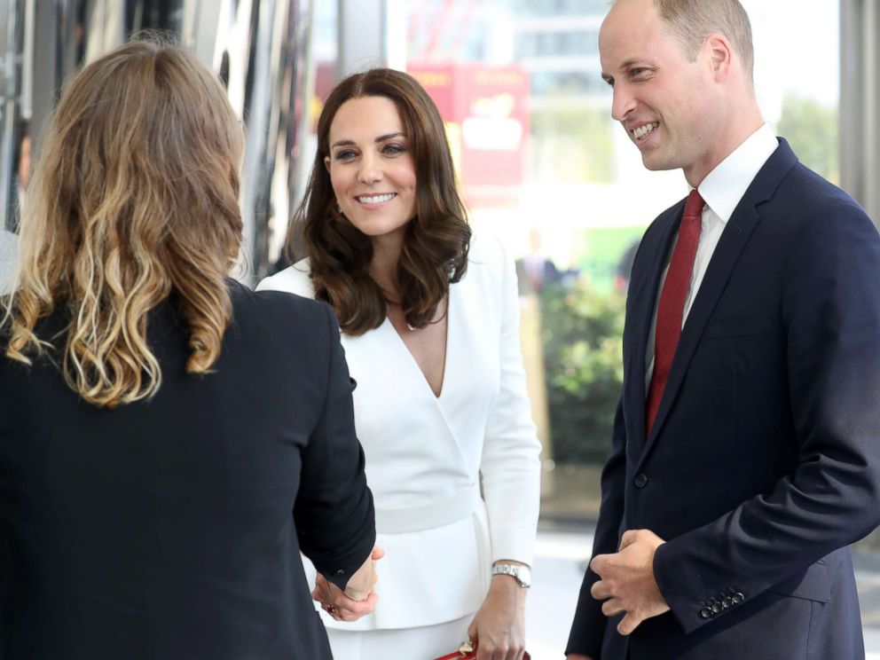 PHOTO: Catherine, Duchess of Cambridge and Prince William arrive to meet young entrepreneurs during a reception at the Heart, Spire Building on day 1 of their official visit to Poland on July 17, 2017 in Warsaw, Poland.