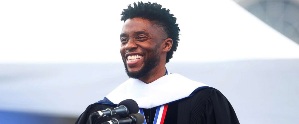 PHOTO: Chadwick Boseman addresses the 150th commencement ceremony at Howard University in Washington, D.C., May 12, 2018.