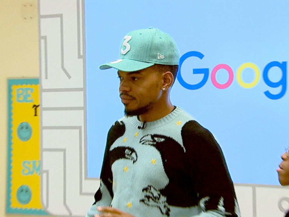 PHOTO: Chance the Rapper surprised a fifth grade class in Chicago to teach them about the importance of technology and coding.