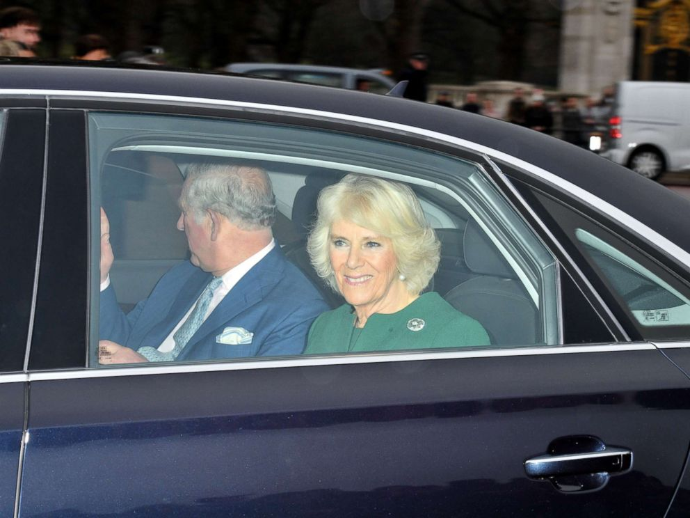 PHOTO: Prince Charles and Camilla Duchess of Cornwall arrive at the Royal Christmas lunch at Buckingham Palace in London, Dec. 20, 2017.