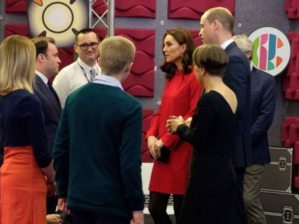 "PHOTO: Kate Middleton and Prince William visit the BBC Children's department to see how the BBC runs interactive workshops called ""Stepping Out"" sessions during the Children's Global Media Summit in Manchester, U.K., Dec. 6, 2017."