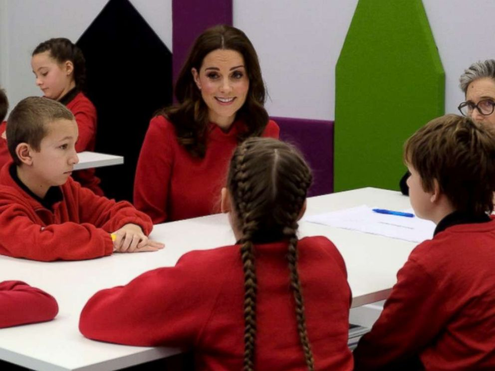 PHOTO: Kate Middleton takes part in a feedback session with young children from The Friars Primary School during a visit to Manchester, U.K. for the Children's Global Media Summit, Dec. 6, 2017.