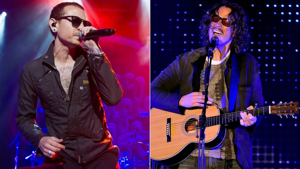 Chester Bennington of Stone Temple Pilots performs, April 10, 2015, in San Francisco.|Chris Cornell performs, Dec. 13, 2015 in Los Angeles.