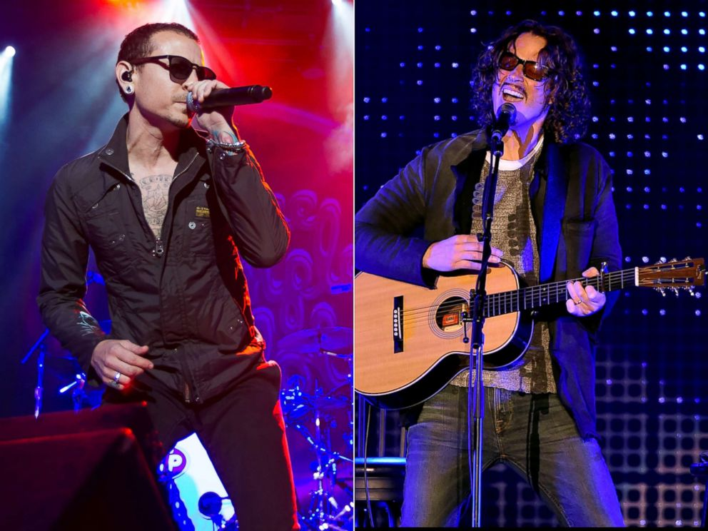 PHOTO: Chester Bennington of Stone Temple Pilots performs, April 10, 2015, in San Francisco.|Chris Cornell performs, Dec. 13, 2015 in Los Angeles.
